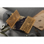 Intricate vintage themed golden laser cut sleeve with gold foiled matte navy blue inner card