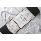 White insert paper and stationeries with vintage themed borders on a shimmering black pocket invite
