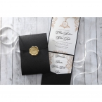 Black pearlised pocket invite, with white insert card printed in high rise fonts, vintage themed stationeries and inner card