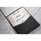 Pearlised white cards with golden borders, black ink printing, inserted on the shimmering black charcoal pocket invite