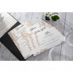 Shiny black charcoal pocket invite, with four matching stationeries on a pearl paper printed in black high rise fonts