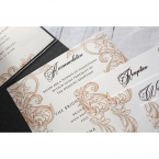 Matching stationeries printed in an elegant shiny black raised ink calligraphic fonts, white pearl card on a black pocket