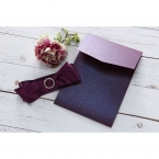Pearlised card stock in deep marsala colour along with its smooth satin ribbon in light purple, embellished with crystal jewel