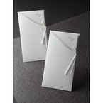 Full view of rectangular pocket style invitation in white colour featuring slim white ribbon tied on the side