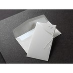 Silk screened edge design pocket invitation with open flap white invitation