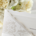 Dainty white satin ribbon and lace, silk screened pocket with elegant edge trimming, smooth inner card stock