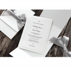 Matte white card printed in black raised ink, enclosed in a white pocket, wrapped by a silver satin ribbon