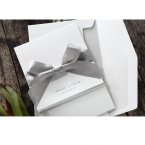 Lightly textured white card bound by a silver ribbon, along with a matte white envelope with silver lining