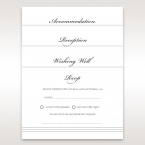 Different sizes of a matte white card printed in flat ink, designed with three grey lines at the bottom