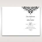 White Jeweled Romance Black Lasercut Pocket - Menu Cards - Wedding Stationery - 12