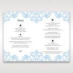 Blue Classy Laser Cut with White Bow - Menu Cards - Wedding Stationery - 77