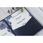Set of stationeries stacked together inside the pocket, printed in high rise fonts and delicate blue floral borders