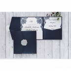 Elegant floral border design on the pearlised insert card and matching stationeries, enclosed in a shiny navy blue pocket
