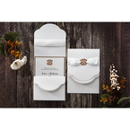 Lightly textured inner card with golden border edge, black ink fonts, white satin ribbon