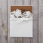 Brown Rustic Laser Cut Pocket with Classic Bow - Wedding invitation - 43