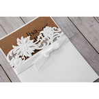 Brown Rustic Laser Cut Pocket with Classic Bow - Wedding invitation - 99
