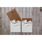 Brown Rustic Laser Cut Pocket with Classic Bow - Wedding invitation - 1