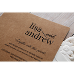 Brown Rustic Laser Cut Pocket with Classic Bow - Wedding invitation - 4