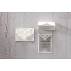 Silver/Gray Jeweled Romance Laser Cut - Save the Date - Wedding Stationery - 36
