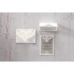 Silver/Gray Jeweled White Lasercut Pocket - Save the Date - Wedding Stationery - 63