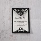 White Jeweled Romance Black Lasercut Pocket - Save the Date - Wedding Stationery - 1