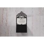 White Jeweled Romance Black Lasercut Pocket - Save the Date - Wedding Stationery - 76