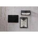 White Jeweled Romance Black Lasercut Pocket - Save the Date - Wedding Stationery - 77