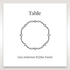 White Jeweled Romance Black Lasercut Pocket - Table Number Cards - Wedding Stationery - 49