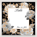 Black Gold Poppies in a Rose Garden - Table Number Cards - Wedding Stationery - 87