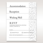 Reception, RSVP, wishing well, reception card arranged in vellum pocket