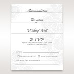 Laser cut invitation with matching reception, accommodation and RSVP cards in vellum pocket