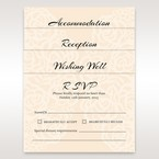 Matching reception; accommodation and RSVP cards in vellum pocket