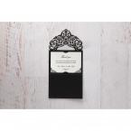 White Jeweled Romance Black Laser Cut - Thank You Cards - Wedding Stationery - 66