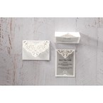Silver/Gray Jeweled White Lasercut Pocket - Thank You Cards - Wedding Stationery - 29