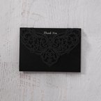 White Jeweled Romance Black Lasercut Pocket - Thank You Cards - Wedding Stationery - 53