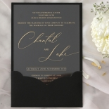 Acrylic with Foil with Ebony Half Pocket - Wedding Invitations - ACR-GG-PCBL-01 - 184925