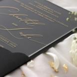 Acrylic with Foil with Ebony Half Pocket - Wedding Invitations - ACR-GG-PCBL-01 - 184926