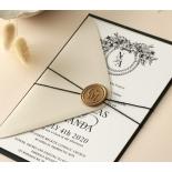 Ebony Foiled Wreath - Wedding Invitations - WP-CU550-B-01 - 184322