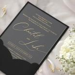 Acrylic with Foil with Ebony Half Pocket - Wedding Invitations - ACR-GG-PCBL-01 - 184927