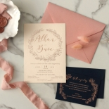 Chic Navy and Rosy Blush Foil - Wedding Invitations - WP-CR07-BR - 184235