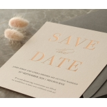 Foil Stamped Save the Date on Blush and White - Wedding Invitations - WP-CR14-SD-RG - 184230