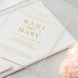 Hardcover Acrylic Pocket - Wedding Invitations - HC-GOLD-CL-1 - 185301