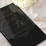Acrylic with Foil with Ebony Half Pocket - Wedding Invitations - ACR-GG-PCBL-01 - 184928