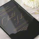 Acrylic with Foil with Ebony Half Pocket - Wedding Invitations - ACR-GG-PCBL-01 - 184929