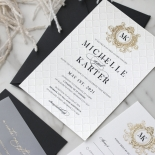 Pre Foiled Quilted Crest - Wedding Invitations - PM-IC330-PLP-BL-02 - 184727