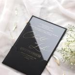 Acrylic with Foil with Ebony Half Pocket - Wedding Invitations - ACR-GG-PCBL-01 - 184930