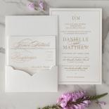 Cottony Elegance Half Pocket - Wedding Invitations - WP-SOLPW-TR30-GG - 184070