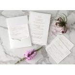 Cottony Elegance Half Pocket - Wedding Invitations - WP-SOLPW-TR30-GG - 184069