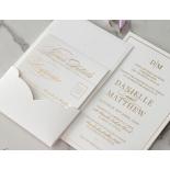 Cottony Elegance Half Pocket - Wedding Invitations - WP-SOLPW-TR30-GG - 184068