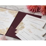 Imperial Burgundy and Gold Pocket - Wedding Invitations - BP-SOLPW-TR30-GG-02 - 184091